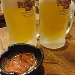 海鮮居酒屋 天秤棒 - キンキンに冷えたプレモルと突き出し(*^^*)