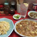 天津 - レバーと長ねぎのうま煮、半チャーハン、レモンハイ