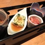 江戸前肉割烹 宮下 - 季節の旬彩、酒肴の五点盛り合わせ