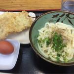 鳥越製麺所 - 釜玉バター(小)¥380+とり天¥130+えび天¥130=¥640(税込)