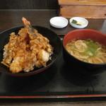 あずみうどん - 料理写真:天丼と温かいミニうどん