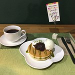 Cafeるくら - パンケーキ (抹茶)ドリンクセット 500円