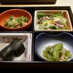 63976575 -  コース料理 前菜4種 茄子の煮浸し 万願寺唐辛子