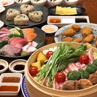 春爛漫彩り旬野菜と薩摩黒豚のせいろ蒸し&串揚げのコース