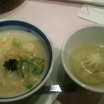 グルメバイキング オリンピア - 〆の鯛雑炊と[タイムサービス] 小籠包のスープ仕立て