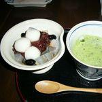 茶院 葉名木 - 白玉あんみつと抹茶のセット