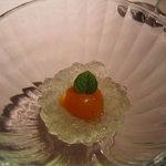 貴匠桜 - 口休めの金柑と柚子のジュレ