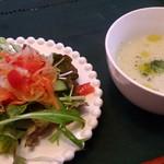 Bread lunch & Cafe La mia casa - サラダとスープ。この日はカブのポタージュでした。