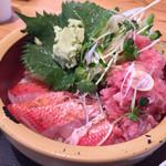 タカマル鮮魚店 - 料理写真:金目鯛とネギトロ丼 880円(税抜)