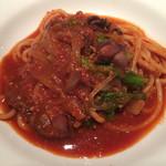 ワインレストラン ドミナス - ホタルイカと菜花のトマトスパゲティ