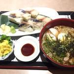 鳥次郎 - さばの押し寿司ととりめん700円