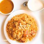 RAJA - 料理写真:チキンビリヤニセット♪ ビリヤニ、チキンカレー、ヨーグルト