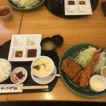 かつぜん - 特選ヒレかつと大海老フライ膳1730円(税抜)