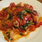estY - お魚と青菜のピリ辛トマトスパゲッティ