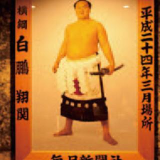 相撲グッズが飾られた店内