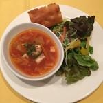 64078282 - スープ・サラダ・フォカッチャ