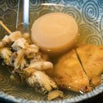 おでんの丸忠 - 料理写真:2017.3 大根、イカ天、牛スジ、ツブ貝