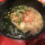 大漁市場 こんぴら丸 - 味噌汁はミニうどんに変更可能でした。+260円