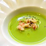 64097028 - スープ・サンジェルマン(グリーンピースのポタージュ)   メープル・ベーコンのアイスクリーム添え