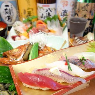 漁港直送の海鮮料理と美味い地酒があります。