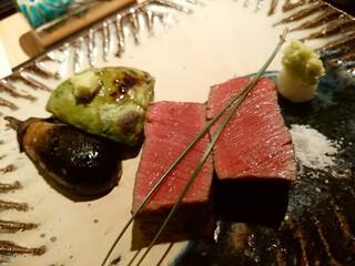 おにく 花柳 - 和牛シャトーブリアン 山葵塩またはポン酢 アボカド 小茄子炭火照り焼き