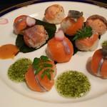和匠よし乃 - 淡路福良産サクラマス手毬寿司