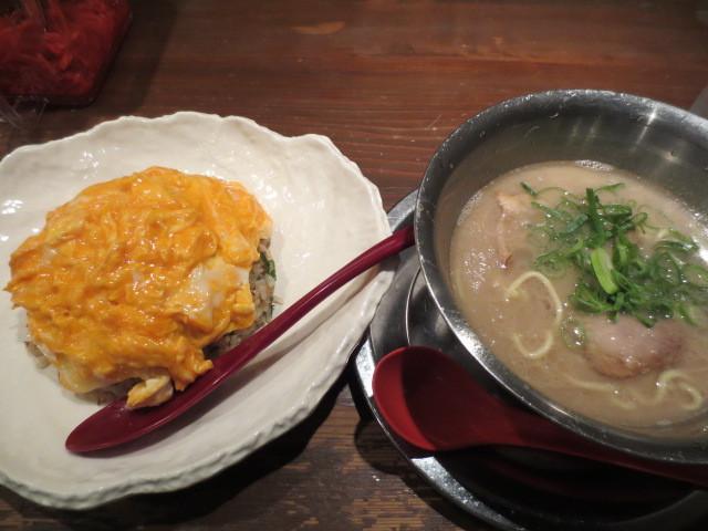 らーめん 極 本店 - らーめん定食 単品らーめん+小盛チャーシューライス