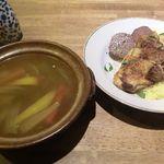 ボタン - ランチ「イノシシソーセージと若鶏のクスクス。スープ付き」