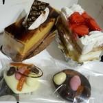 64140355 - キャラメルショコラ、イチゴのミルフィーユ、焼き菓子チョコ