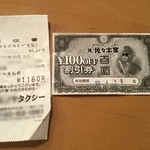 Sasakiya - タクシーのレシートと100円割引券