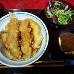 越前まるごと食彩 - 海鮮天丼一式 1300円