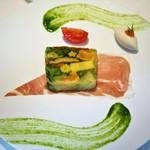 オオハラ エ シーアイイー - 季節野菜のテリーヌ  アンチョビのムース添え