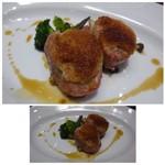 64182083 - ◆メインの「豚フィレのサルティンポッカ(1700円:ブッフェ付き:税込)」 豚フィレ肉に生ハムを巻き焼いたお料理ですが、量が少ないですね。 味わいとしては可もなく不可もなくだそう。