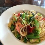 パスタ・ディ・フランコ - スパゲッティー 赤海老と季節野菜のアーリオ オーリオ エ ペペロンチーノ
