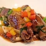 中国料理 丹甫 - いろいろ野菜の和牛巻き 黒胡椒煮込み