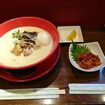 濃厚鶏白湯拉麺 乙 - 濃厚鶏白湯拉麺(豆乳)+味玉+レモン+鶏チャンジャ
