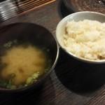やまめ山荘 - 粟飯と味噌汁