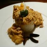 ペルー料理 bepocah - 若鶏のブレスト、親鶏のスープ、「アヒ・アマリージョ」とうがらしクリームとベカンナッツの煮込み