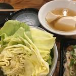 64225088 - コースの味噌キャベツ&出汁豆腐