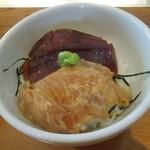 久遠 - 料理写真:まぐろの漬けと白身魚の胡麻醤油和え