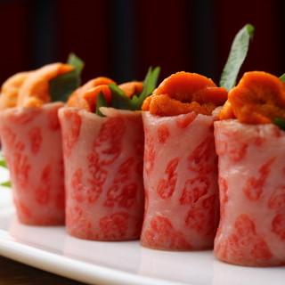 近江牛希少部位ステーキ、肉寿司、肉刺しなど至極の肉メニュー!