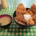 キッチン男の晩ごはん - スタミナ野郎丼(ミックス)850円、ご飯少なめ