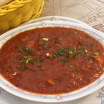 インド料理 ドルーガ - シーフードヴィンタロのアップ。濃厚なトマトの味。