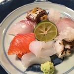 祇園ろはん - 活〆の明石の真鯛、辛子を添えた藁焼きの鰹、琵琶鱒、敦賀の障泥烏賊は、伊勢炙った穴子、アコウ。