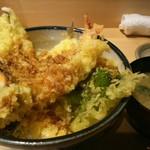 寿司の磯松 - 穴子と大海老の天丼(味噌汁付き) 1000円