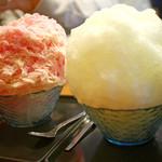 甘味処 相生 - イチゴミルク&レモンかき氷