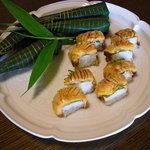 """千松しま - 鱧と思いきや """"ほや"""" の寿司と粽。"""