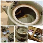 64303389 - ◆ひれ酒(1000円)・・湯のみではなく、土瓶に入れて出されます。ひれの香ばしい香りがして美味しい。 つぎ酒も可能(料金不明)