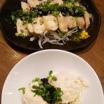 三代目 鳥メロ - 燻製ポテトサラダ&秘伝のぷるぷるダレの蒸し鶏冷菜