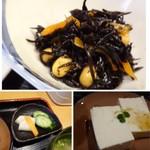 64307607 - ◆アラメの煮物・・大豆が入っているのが体によさそう。優しい味わいですが、好み。 ◆左下:香の物。 ◆右下:奴。少量のゴマダレがかかっています。